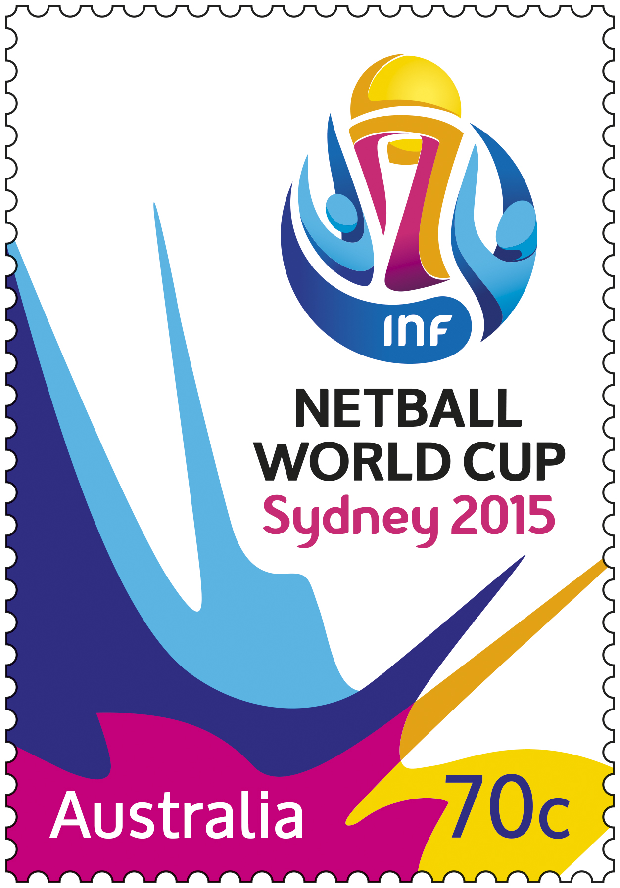 70c Netball World Cup Sydney 2015 stamp